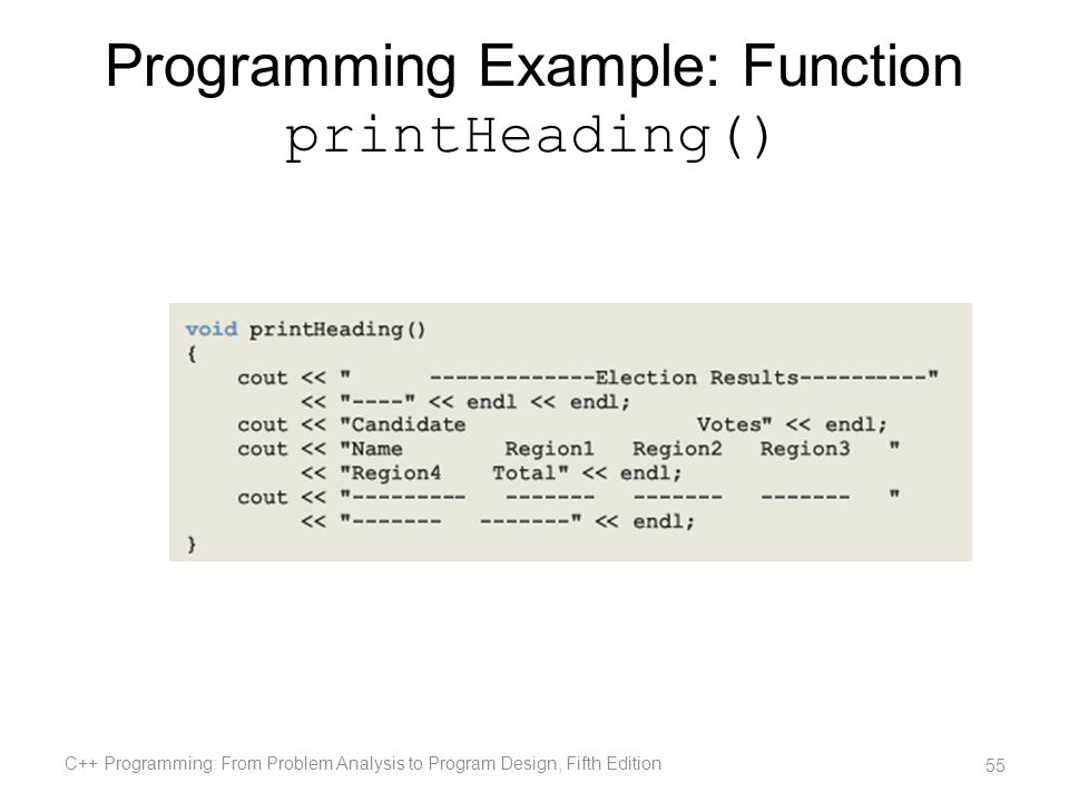 Programming Example: Function printHeading()