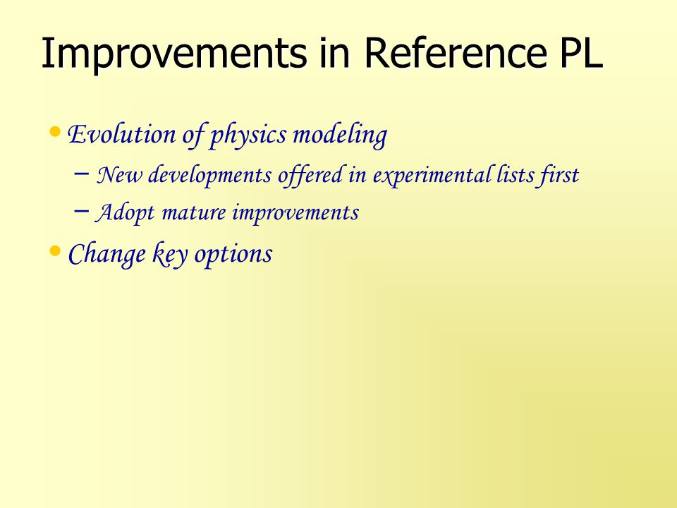 Improvements in Reference PL