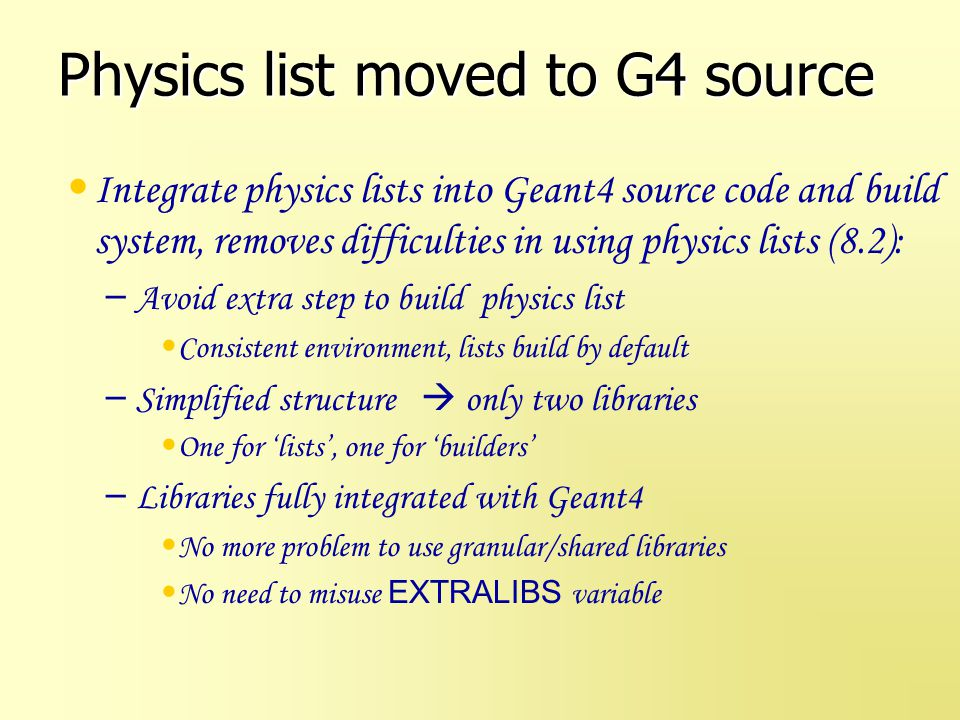 Physics list moved to G4 source