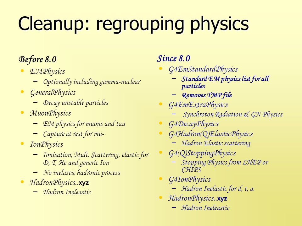 Cleanup: regrouping physics