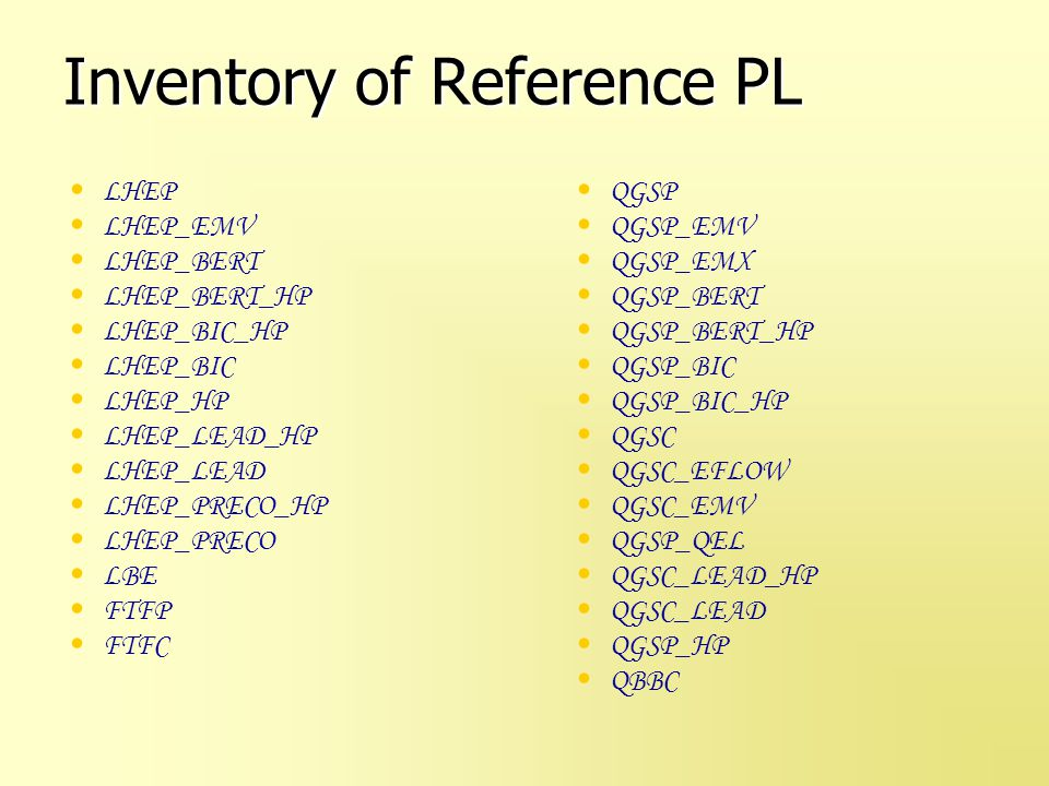 Inventory of Reference PL