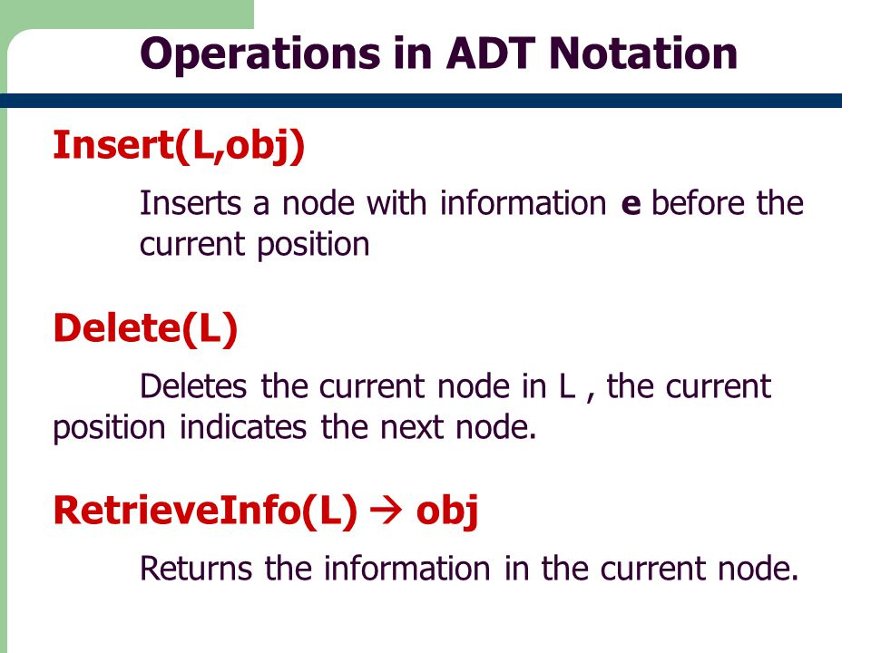Operations in ADT Notation