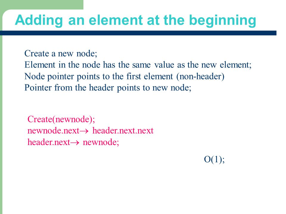 Adding an element at the beginning