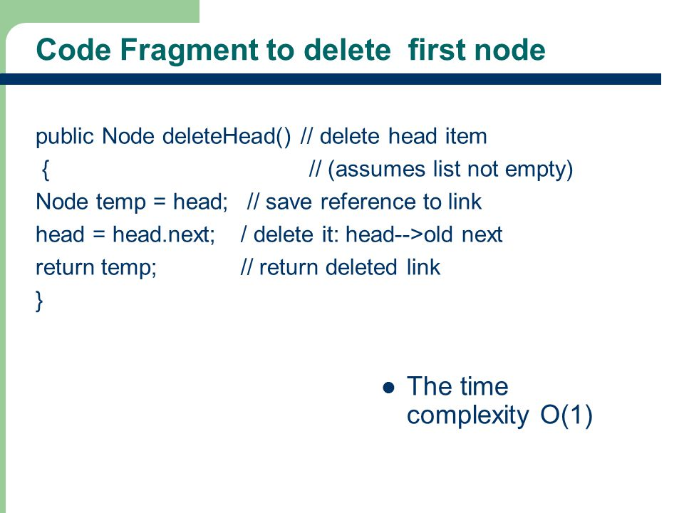 Code Fragment to delete first node