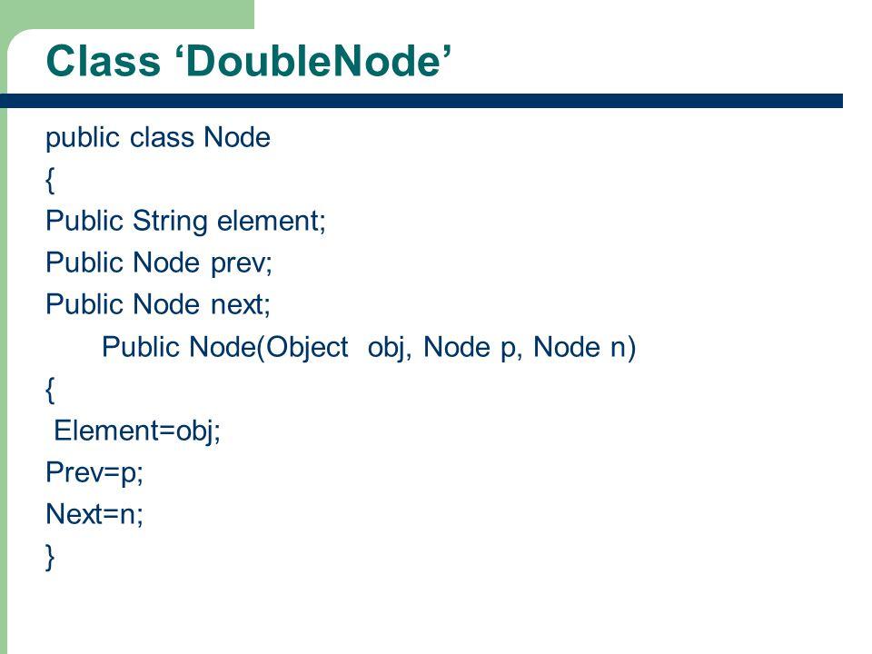 Class 'DoubleNode' public class Node { Public String element;