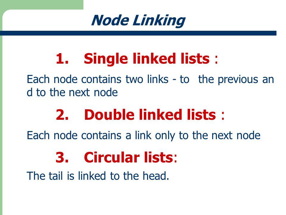 Node Linking 1. Single linked lists : 2. Double linked lists :