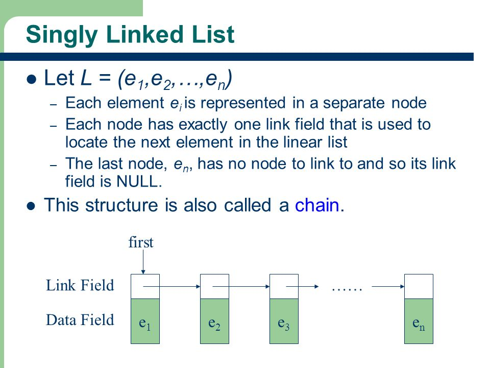 Singly Linked List Let L = (e1,e2,…,en)