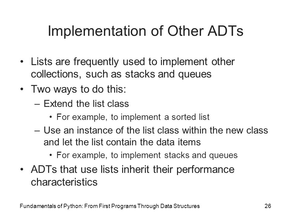 Implementation of Other ADTs