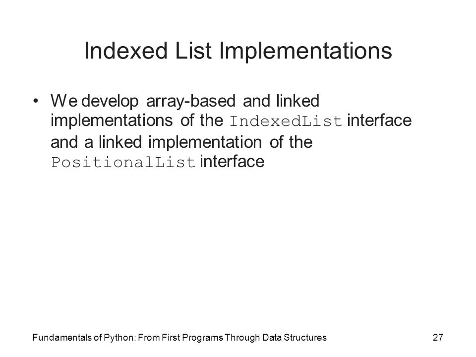 Indexed List Implementations