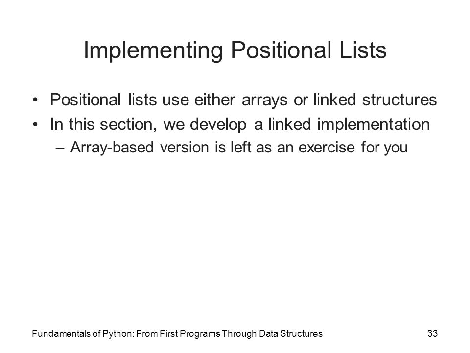 Implementing Positional Lists