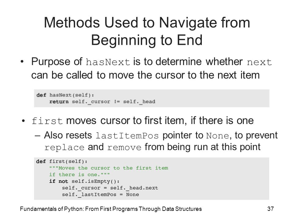 Methods Used to Navigate from Beginning to End