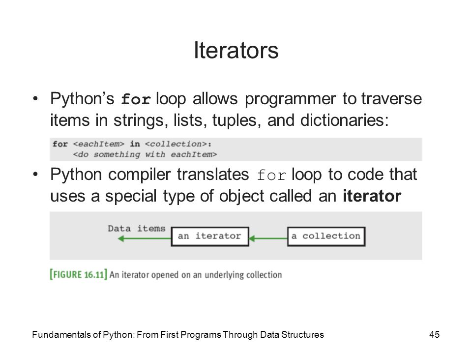Iterators Python's for loop allows programmer to traverse items in strings, lists, tuples, and dictionaries: