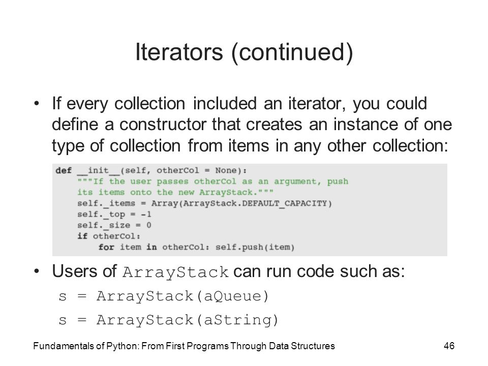 Iterators (continued)