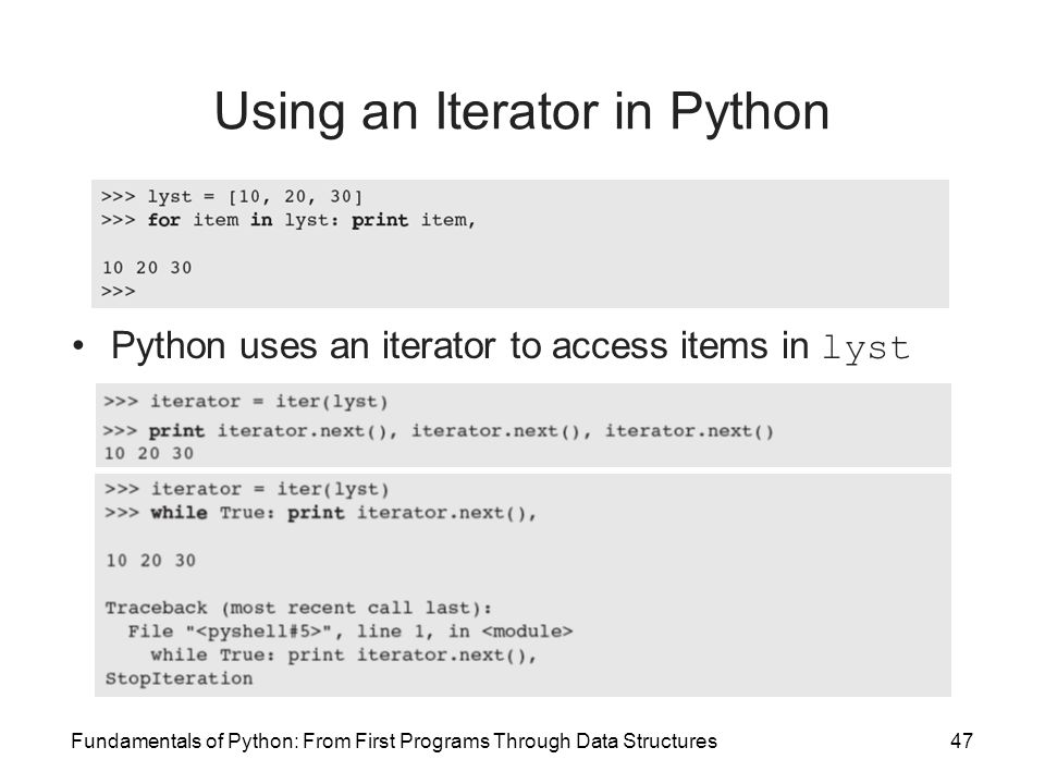 Using an Iterator in Python
