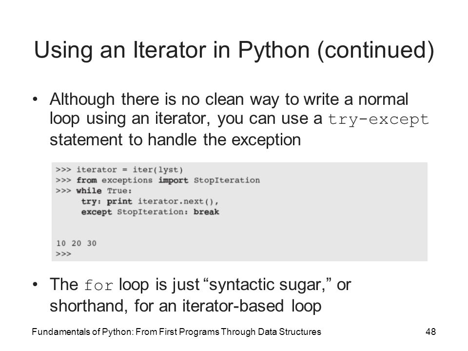 Using an Iterator in Python (continued)