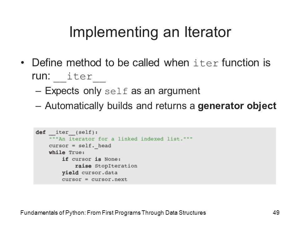 Implementing an Iterator