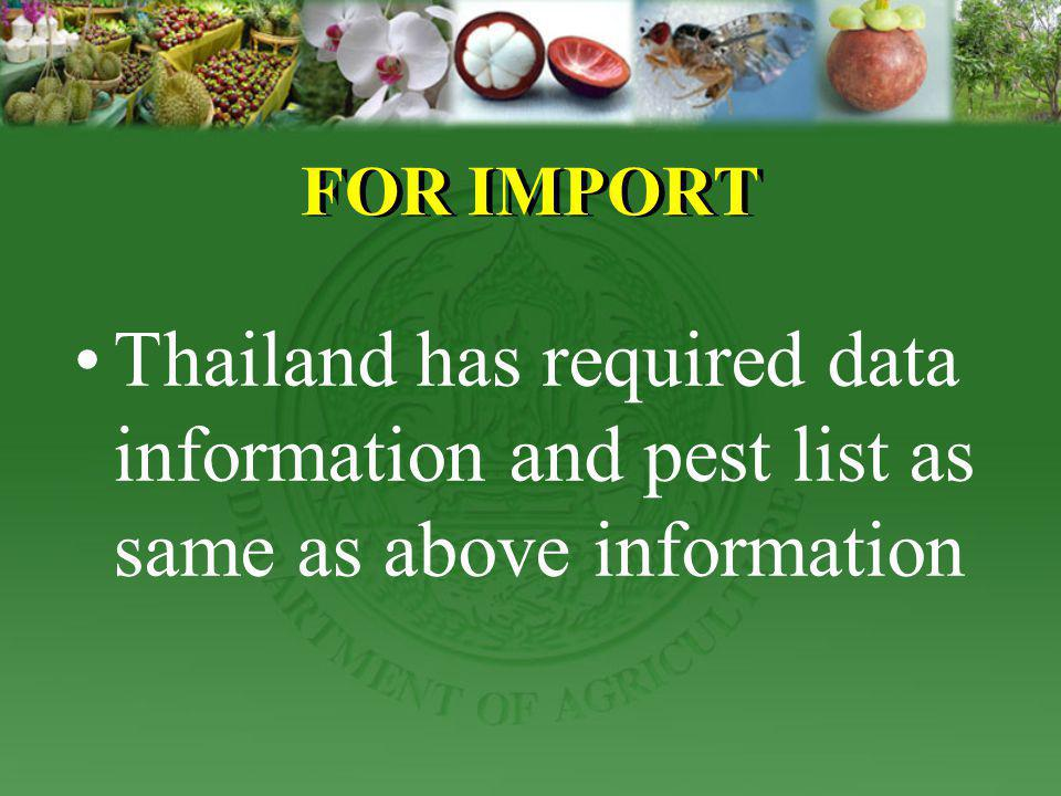 FOR IMPORT Thailand has required data information and pest list as same as above information