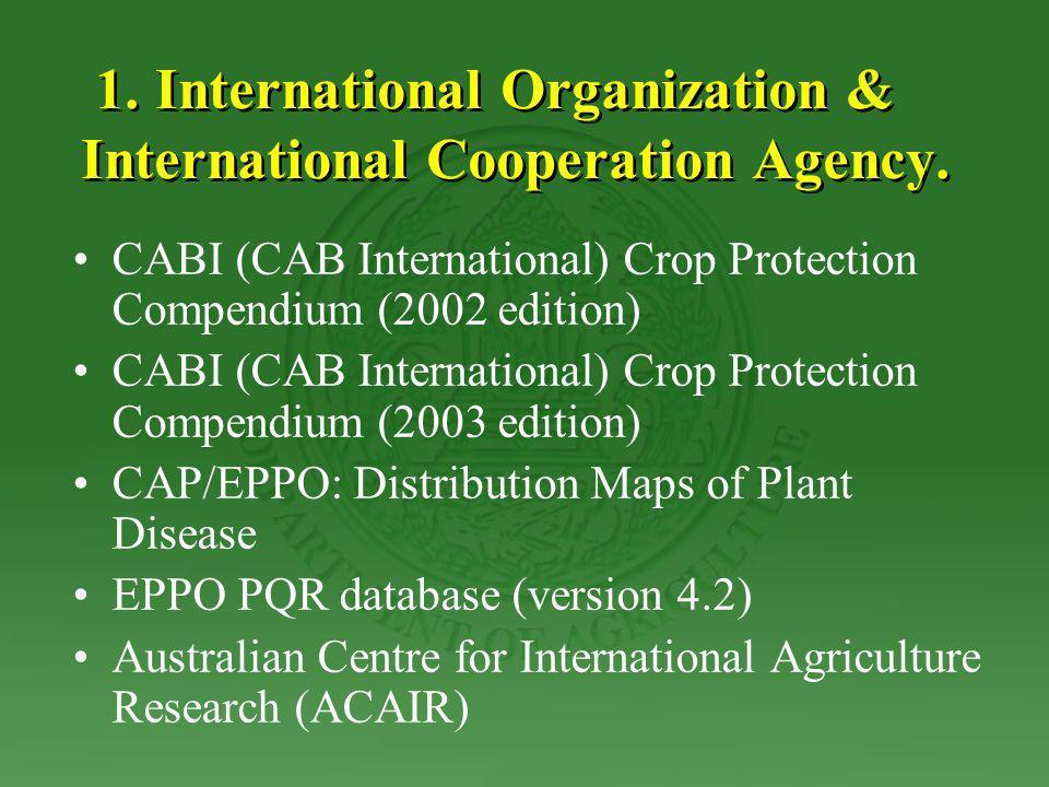 1. International Organization & International Cooperation Agency.