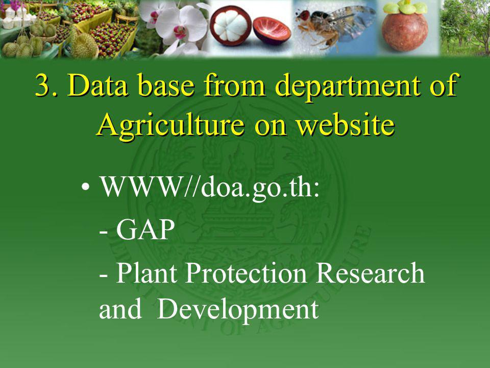 3. Data base from department of Agriculture on website
