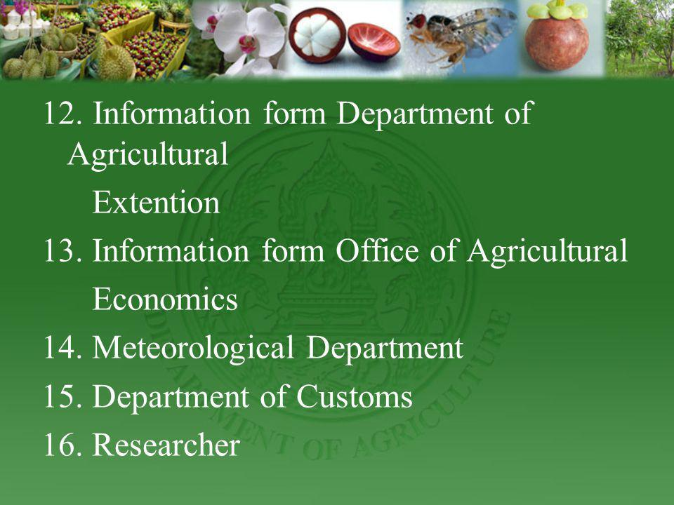 12. Information form Department of Agricultural