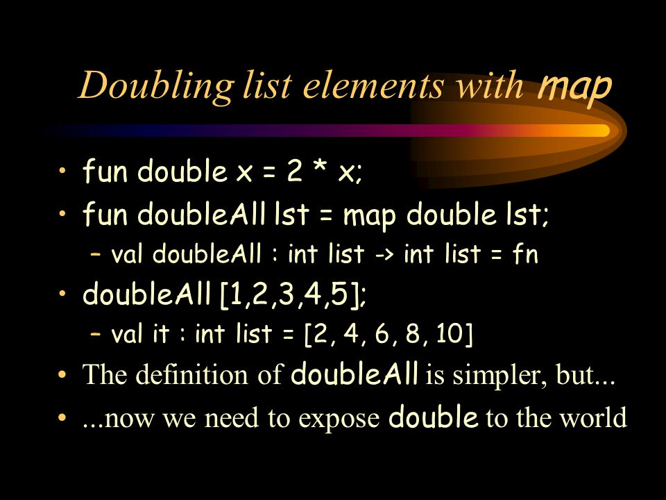 Doubling list elements with map