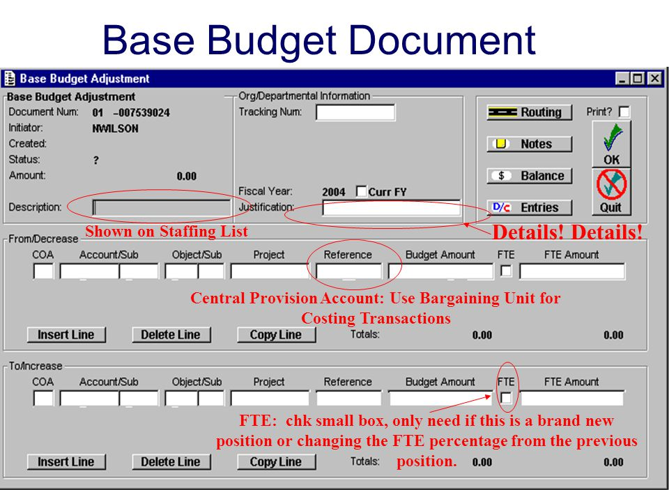 Base Budget Document Details! Details! Shown on Staffing List