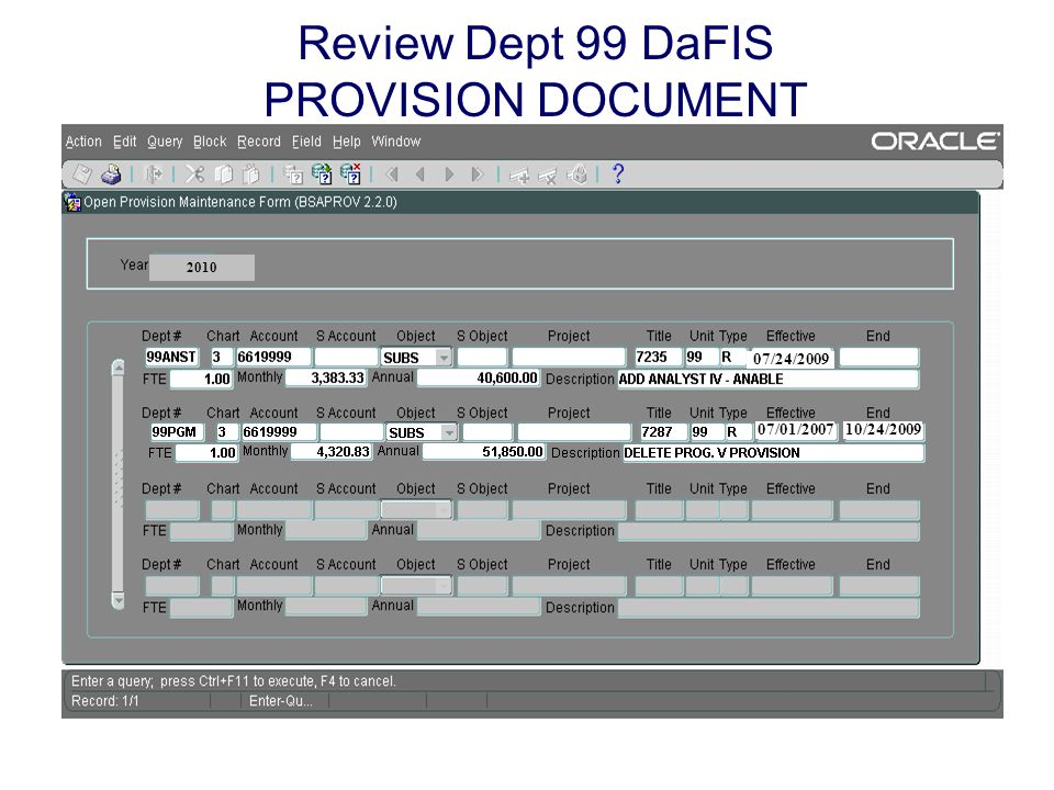 Review Dept 99 DaFIS PROVISION DOCUMENT