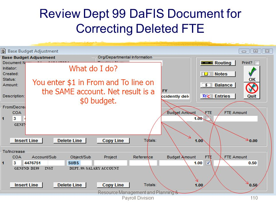 Review Dept 99 DaFIS Document for Correcting Deleted FTE