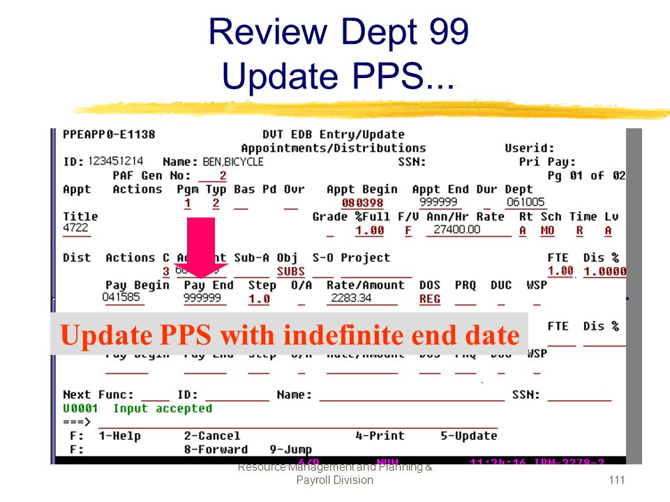 Update PPS with indefinite end date