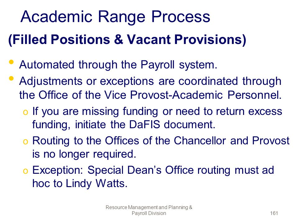 Academic Range Process