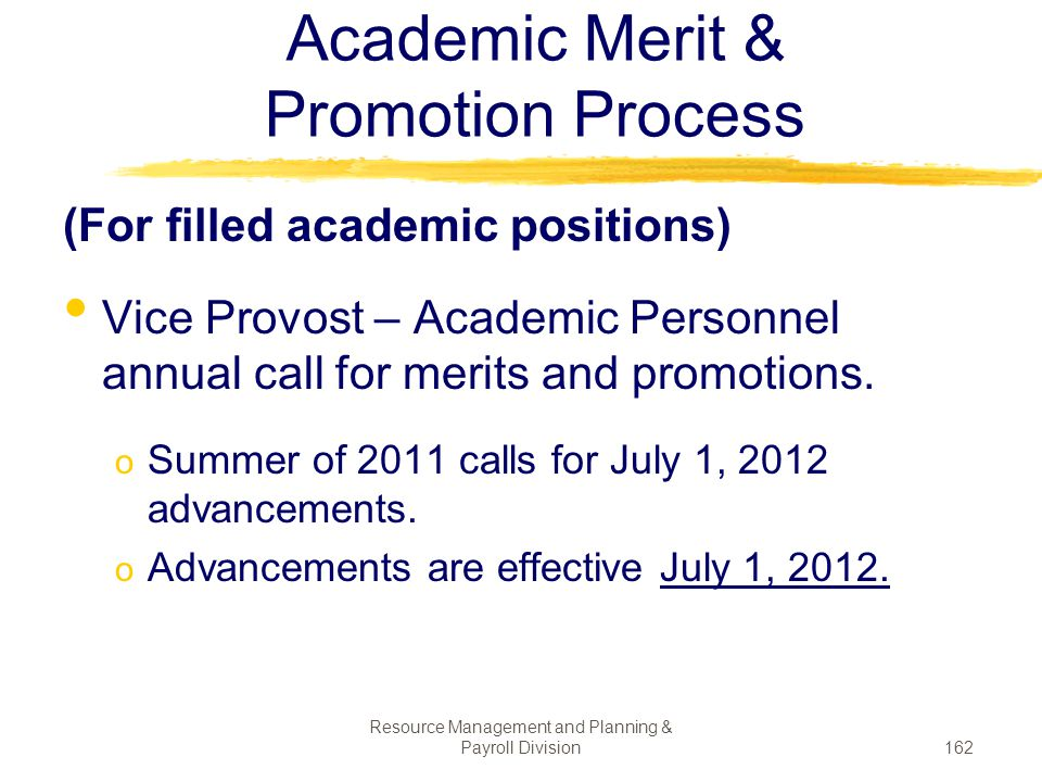 Academic Merit & Promotion Process
