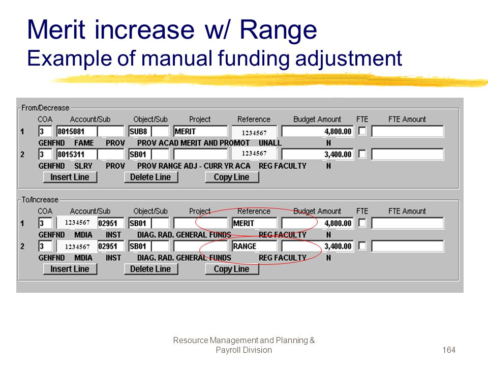 Merit increase w/ Range Example of manual funding adjustment