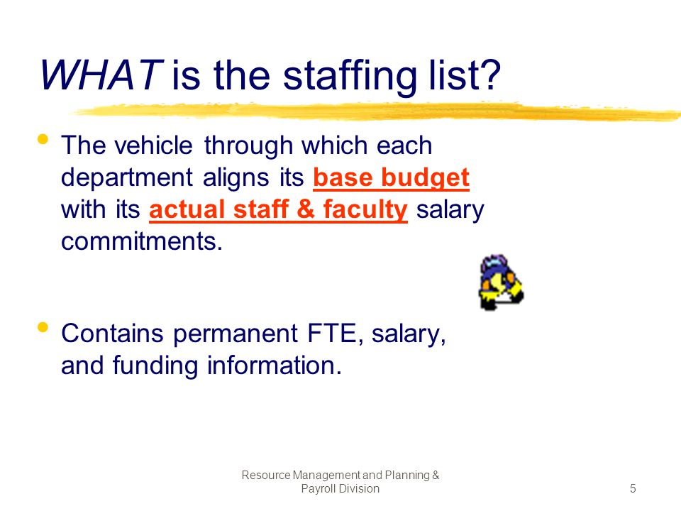 WHAT is the staffing list