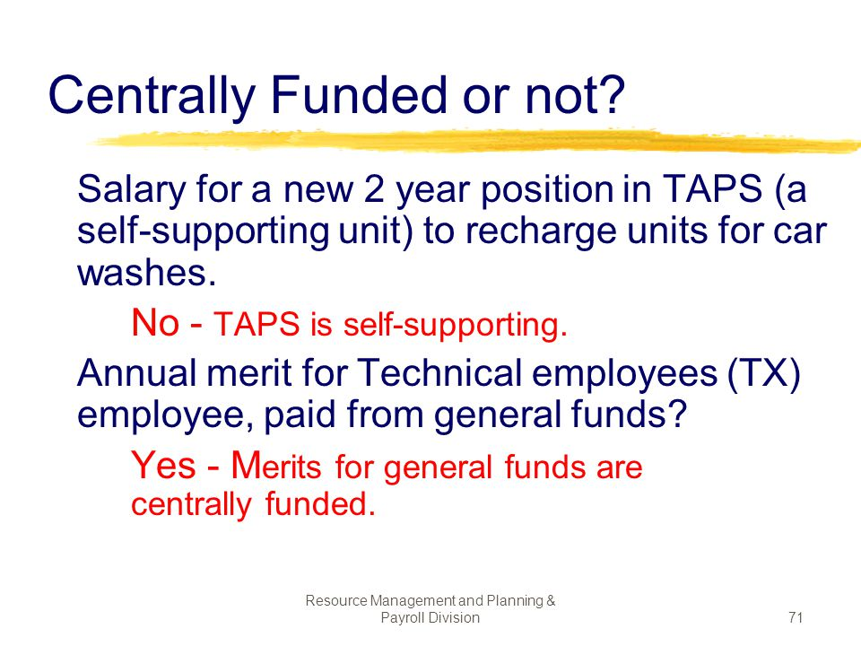 Centrally Funded or not
