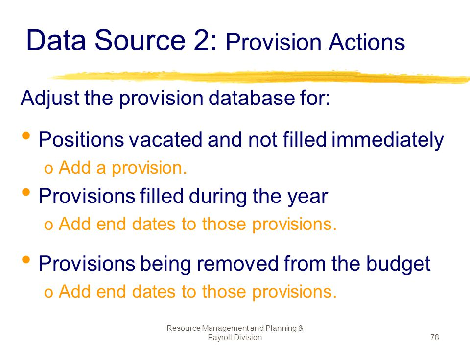Data Source 2: Provision Actions