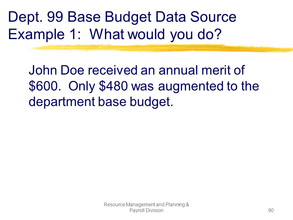 Dept. 99 Base Budget Data Source Example 1: What would you do