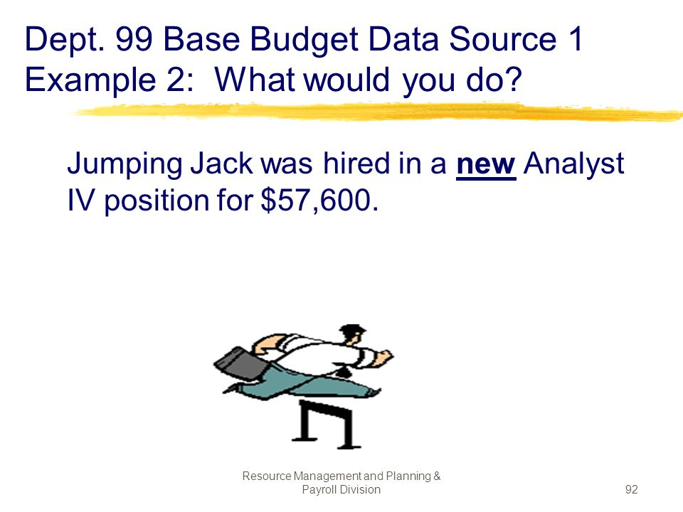 Dept. 99 Base Budget Data Source 1 Example 2: What would you do