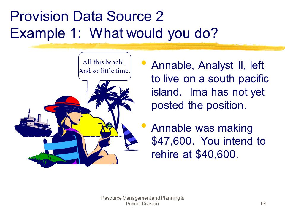 Provision Data Source 2 Example 1: What would you do