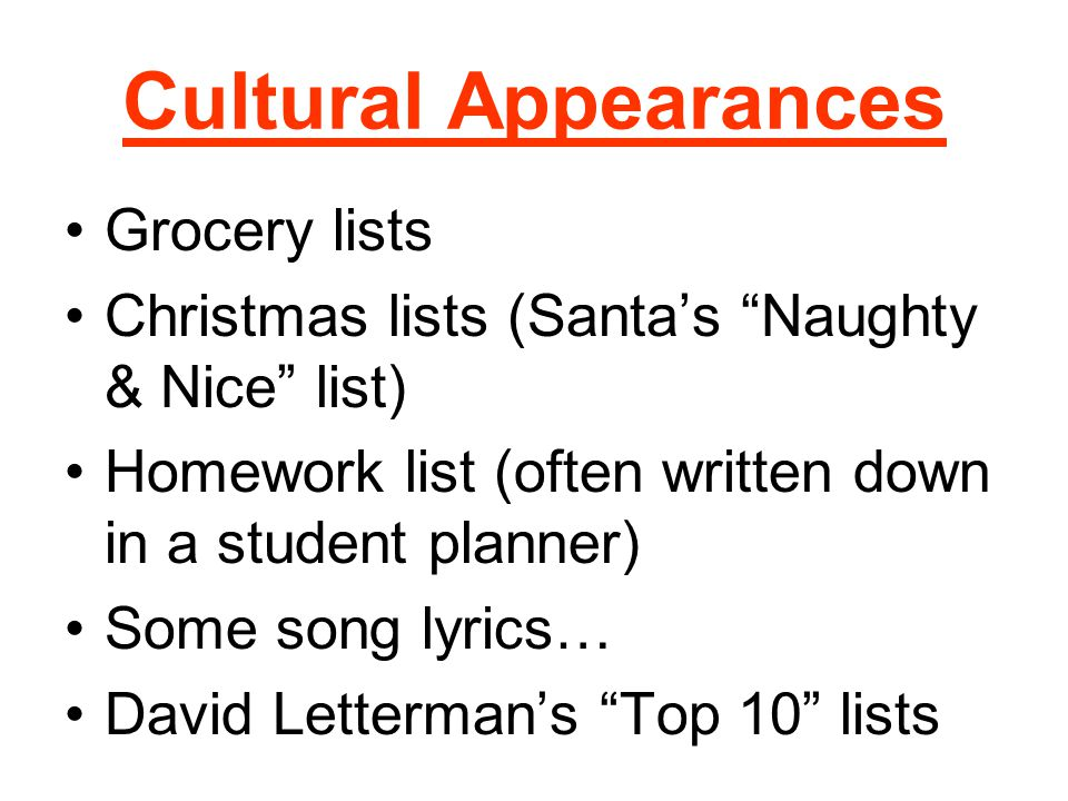 Cultural Appearances Grocery lists