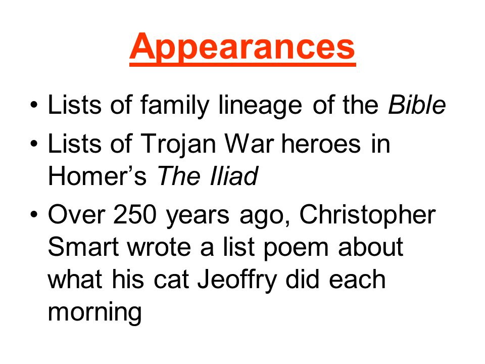 Appearances Lists of family lineage of the Bible