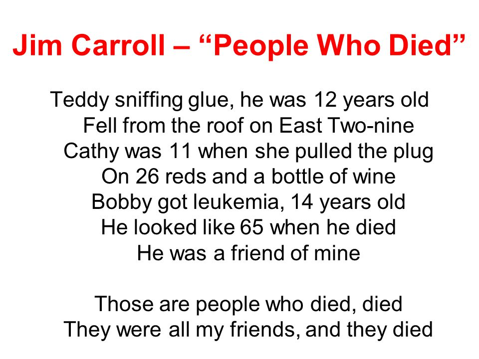 Jim Carroll – People Who Died