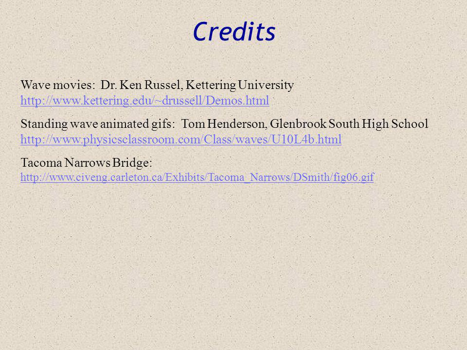 Credits Wave movies: Dr. Ken Russel, Kettering University http://www.kettering.edu/~drussell/Demos.html.
