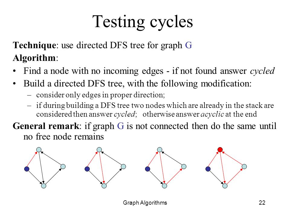 Testing cycles Technique: use directed DFS tree for graph G Algorithm: