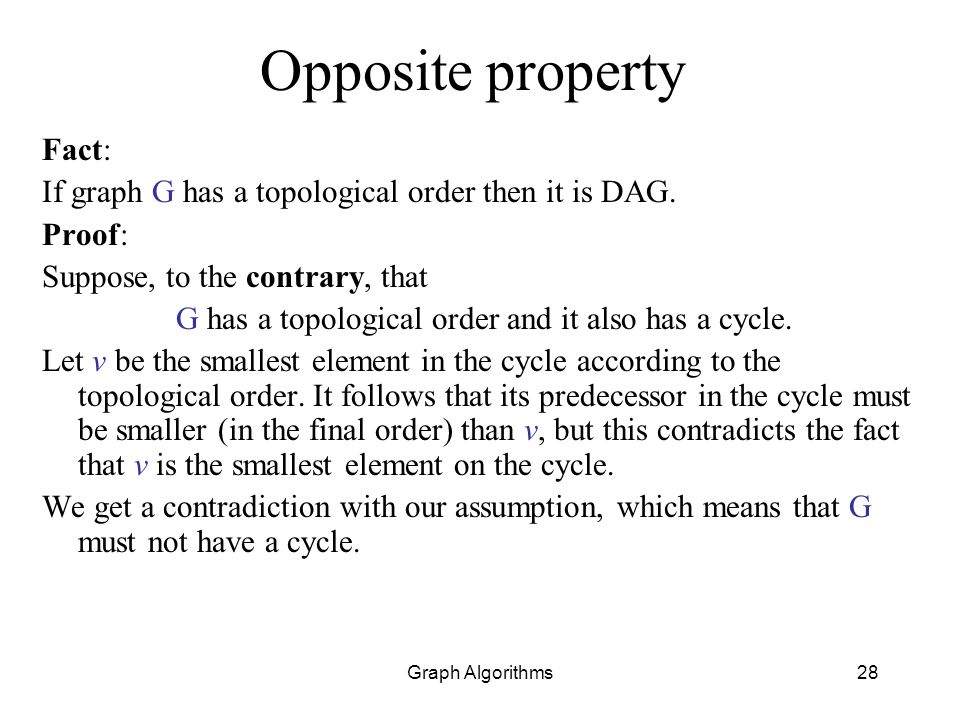 G has a topological order and it also has a cycle.