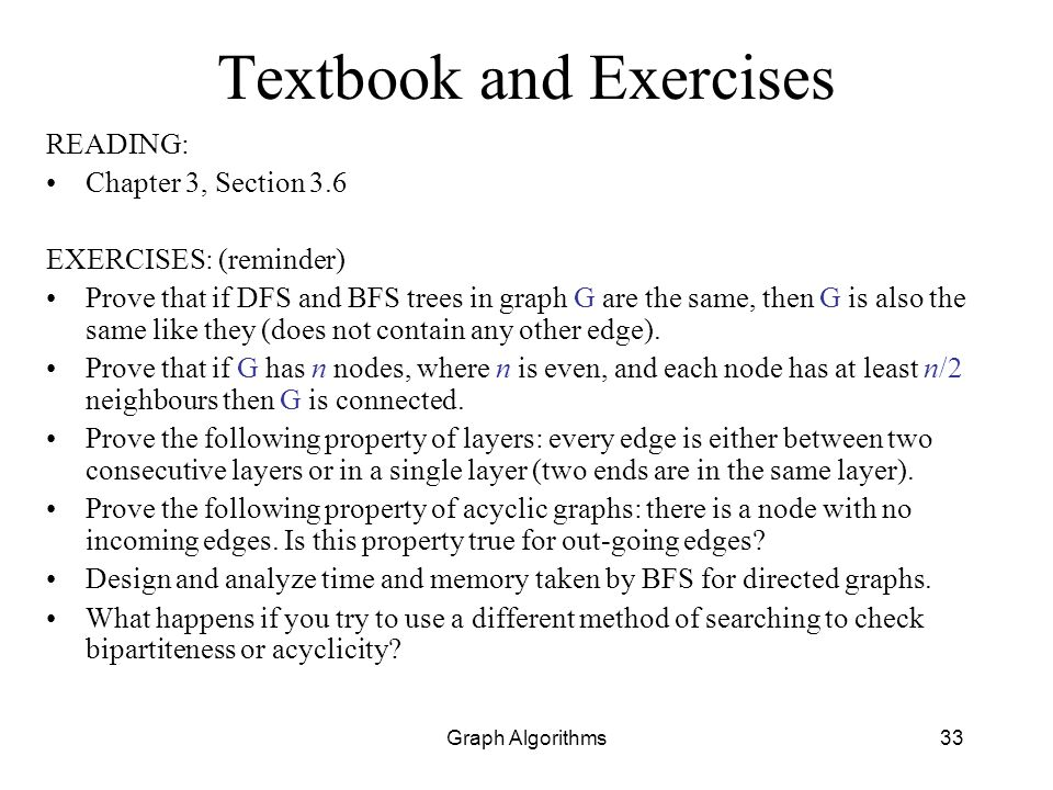 Textbook and Exercises
