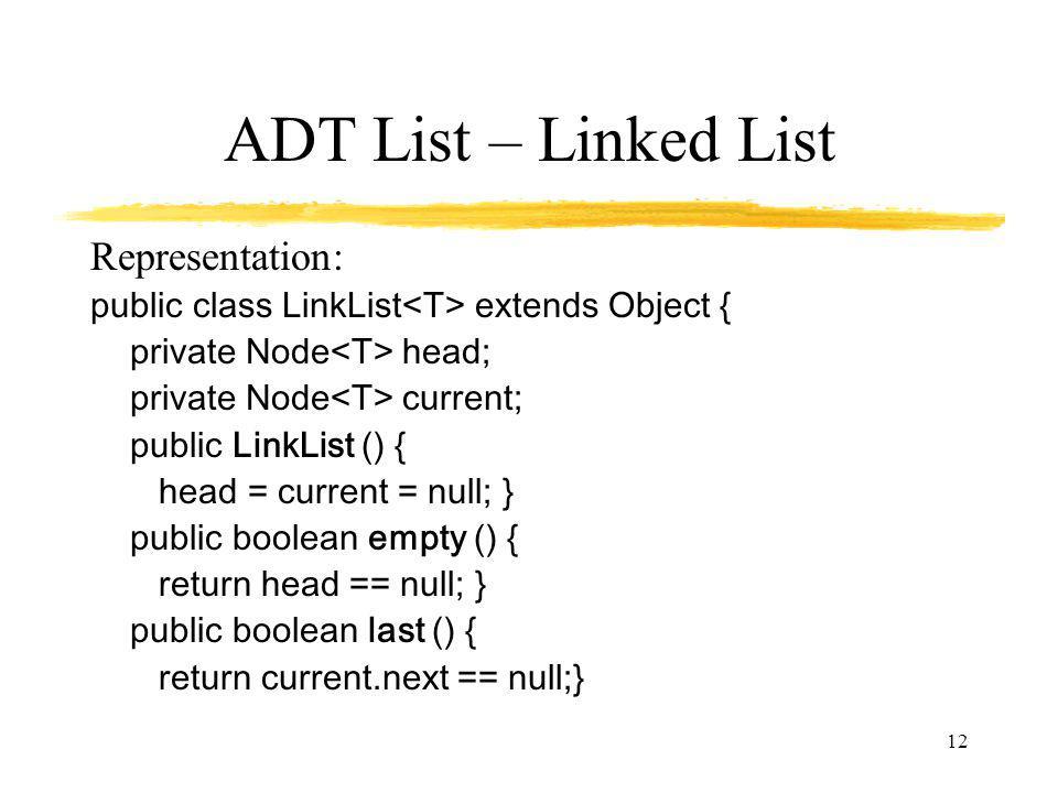 ADT List – Linked List Representation: