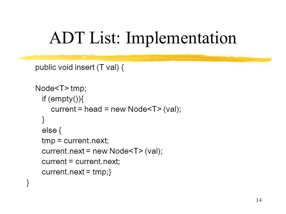 ADT List: Implementation