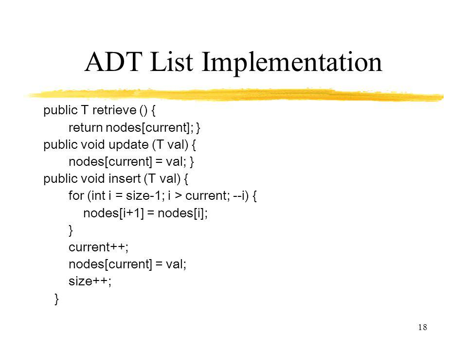 ADT List Implementation