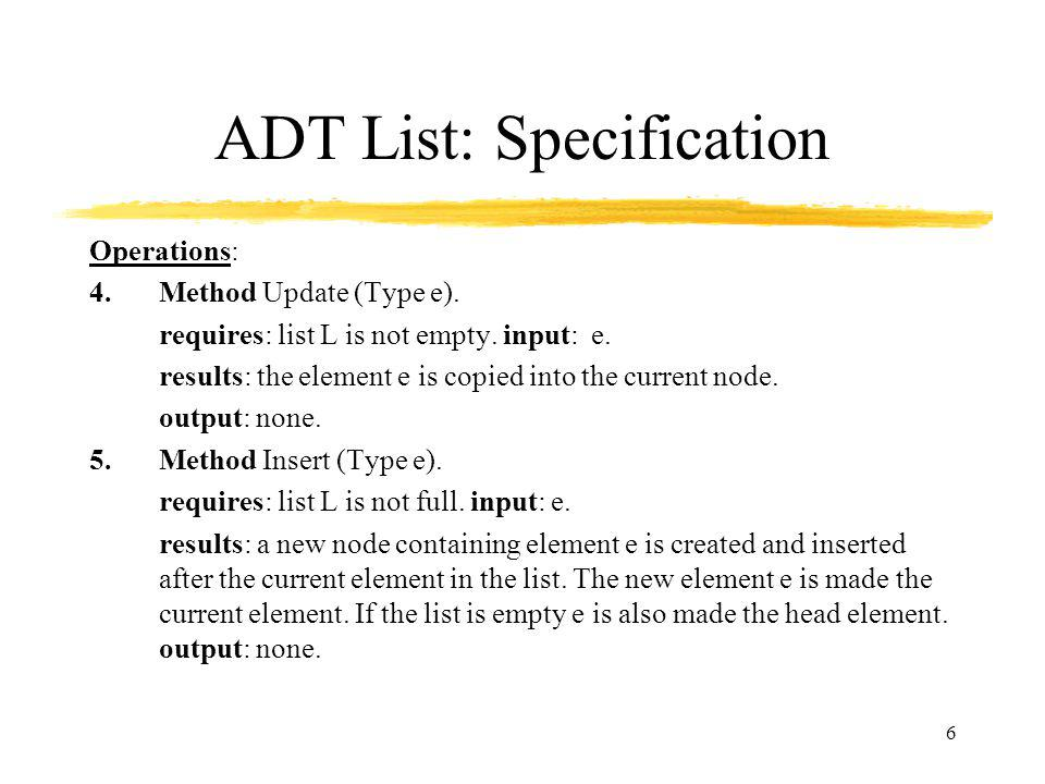 ADT List: Specification