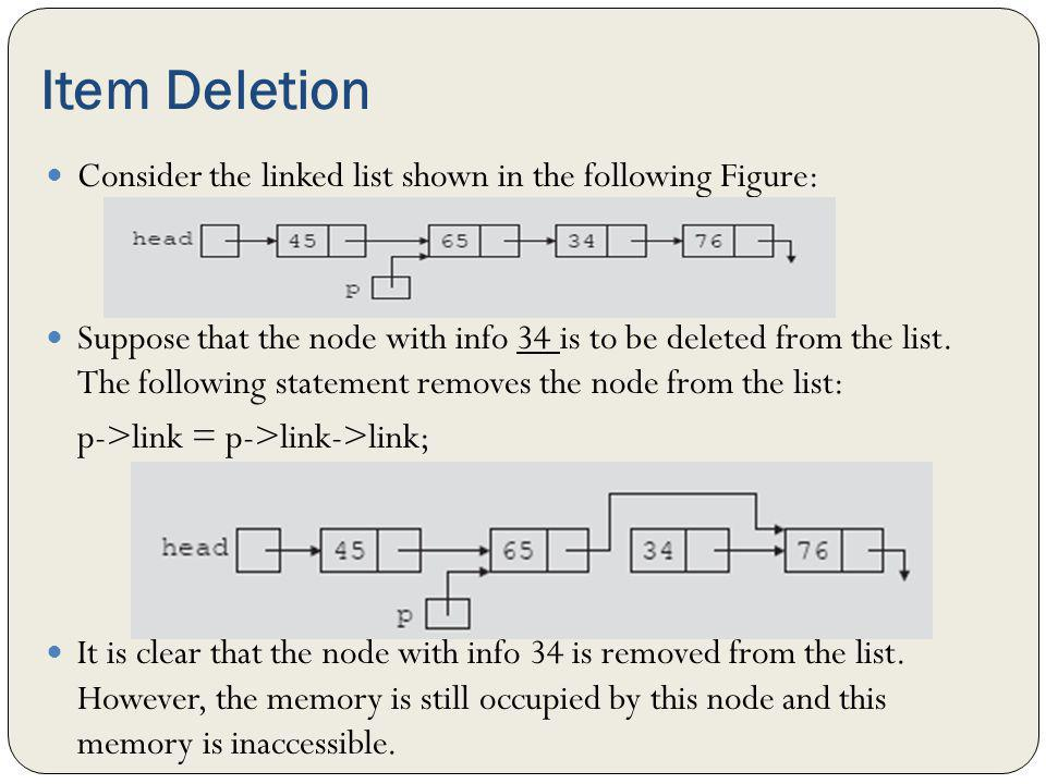 Item Deletion Consider the linked list shown in the following Figure: